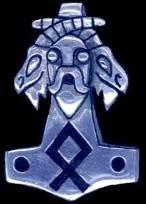 Thor's Face & Goats Heads with Othala Rune